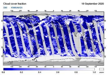 OMI - Cloud cover fraction of 19 September 2020