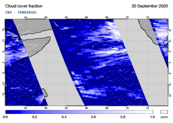 OMI - Cloud cover fraction of 20 September 2020