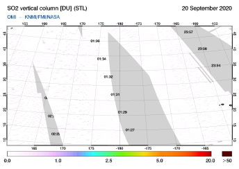 OMI - SO2 vertical column of 20 September 2020