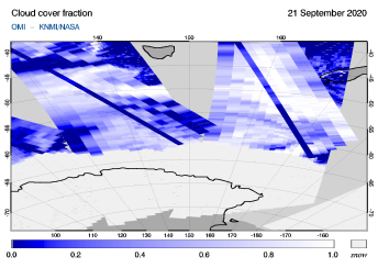 OMI - Cloud cover fraction of 21 September 2020