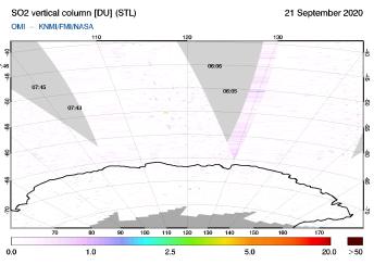 OMI - SO2 vertical column of 21 September 2020