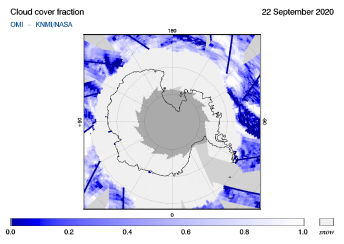 OMI - Cloud cover fraction of 22 September 2020