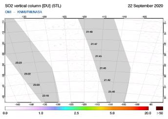 OMI - SO2 vertical column of 22 September 2020