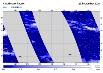 OMI - Cloud cover fraction of 23 September 2020