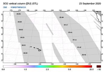 OMI - SO2 vertical column of 23 September 2020