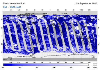 OMI - Cloud cover fraction of 25 September 2020
