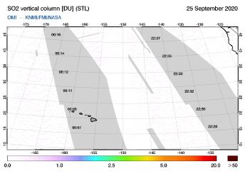 OMI - SO2 vertical column of 25 September 2020