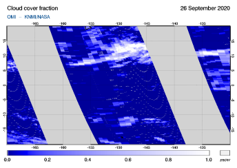 OMI - Cloud cover fraction of 26 September 2020