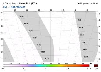 OMI - SO2 vertical column of 26 September 2020