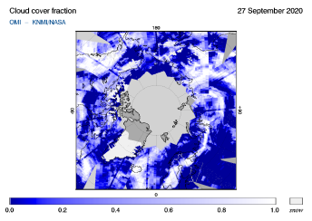 OMI - Cloud cover fraction of 27 September 2020