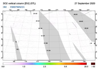 OMI - SO2 vertical column of 27 September 2020