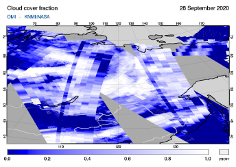 OMI - Cloud cover fraction of 28 September 2020