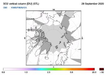 OMI - SO2 vertical column of 28 September 2020