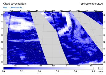 OMI - Cloud cover fraction of 29 September 2020