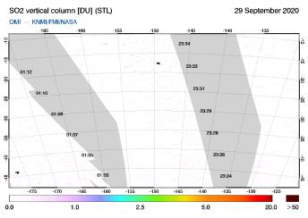 OMI - SO2 vertical column of 29 September 2020