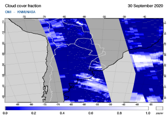 OMI - Cloud cover fraction of 30 September 2020