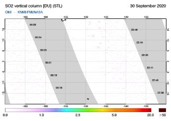 OMI - SO2 vertical column of 30 September 2020