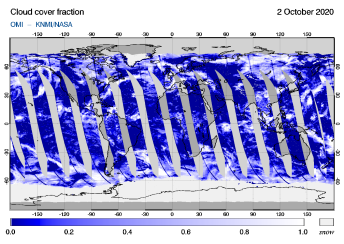 OMI - Cloud cover fraction of 02 October 2020