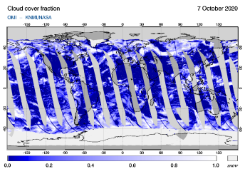 OMI - Cloud cover fraction of 07 October 2020