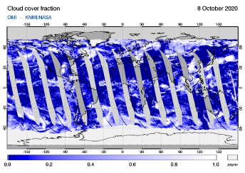 OMI - Cloud cover fraction of 08 October 2020