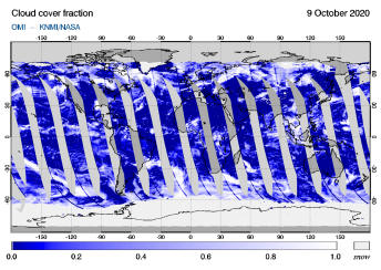 OMI - Cloud cover fraction of 09 October 2020