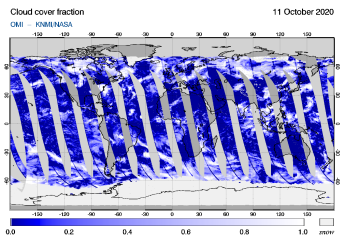 OMI - Cloud cover fraction of 11 October 2020