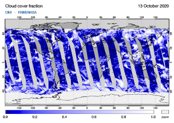 OMI - Cloud cover fraction of 13 October 2020