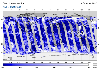 OMI - Cloud cover fraction of 14 October 2020