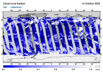 OMI - Cloud cover fraction of 15 October 2020