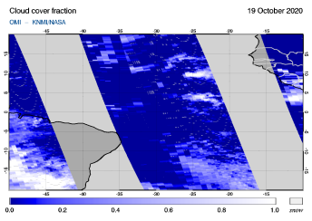 OMI - Cloud cover fraction of 19 October 2020