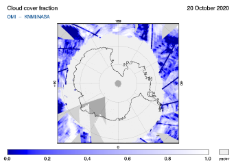 OMI - Cloud cover fraction of 20 October 2020