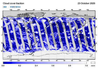 OMI - Cloud cover fraction of 23 October 2020