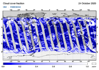 OMI - Cloud cover fraction of 24 October 2020