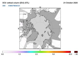 OMI - SO2 vertical column of 24 October 2020