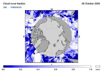 OMI - Cloud cover fraction of 26 October 2020
