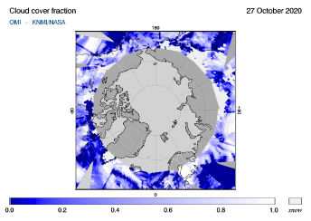 OMI - Cloud cover fraction of 27 October 2020
