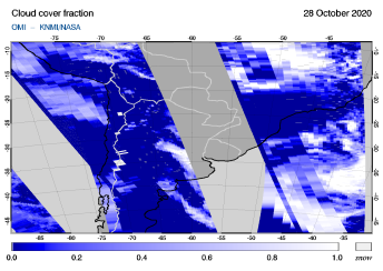 OMI - Cloud cover fraction of 28 October 2020