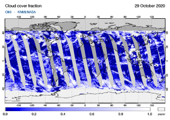 OMI - Cloud cover fraction of 29 October 2020