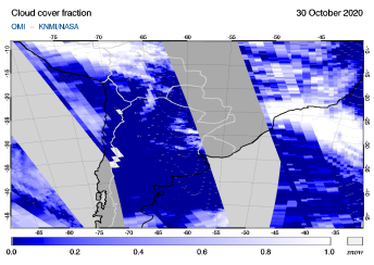 OMI - Cloud cover fraction of 30 October 2020
