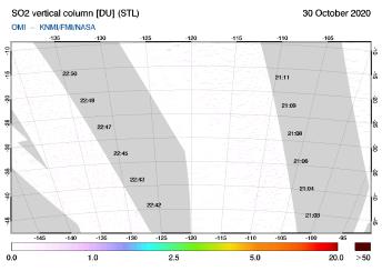 OMI - SO2 vertical column of 30 October 2020