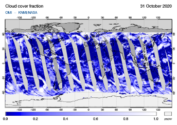 OMI - Cloud cover fraction of 31 October 2020