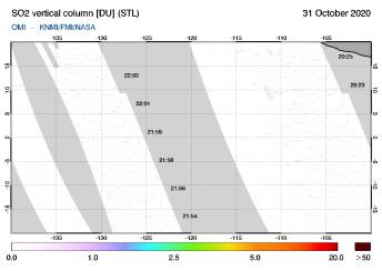 OMI - SO2 vertical column of 31 October 2020