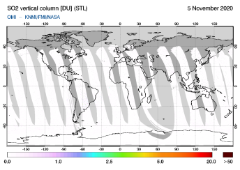 OMI - SO2 vertical column of 05 November 2020