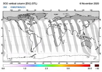 OMI - SO2 vertical column of 06 November 2020