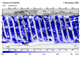 OMI - Cloud cover fraction of 07 November 2020