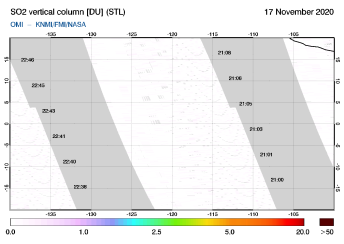 OMI - SO2 vertical column of 17 November 2020