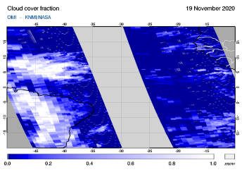 OMI - Cloud cover fraction of 19 November 2020