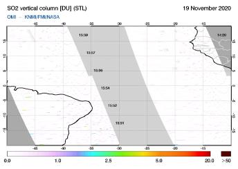 OMI - SO2 vertical column of 19 November 2020