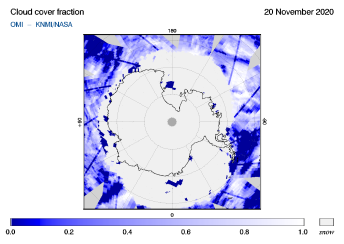 OMI - Cloud cover fraction of 20 November 2020