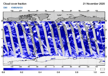 OMI - Cloud cover fraction of 21 November 2020
